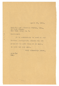 Letter from W. E. B. Du Bois to Pacific and Atlantic Photos, Inc.