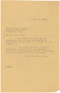 Letter from Augustus Granville Dill to Editha G. Lewis