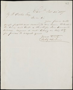 Wylly & Collins, Savannah, Ga., manuscript letter signed to Ziba B. Oakes, 20 February 1857