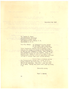 Letter from Hugh H. Smythe to Leslie S. Perry