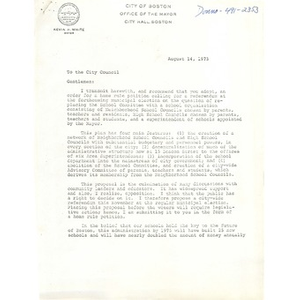 Letter, Boston City Council, August 14, 1973.