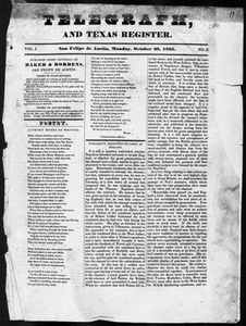Telegraph and Texas Register (San Felipe de Austin [i.e. San Felipe], Tex.), Vol. 1, No. 3, Ed. 1, Monday, October 26, 1835 Telegraph and Texas Register