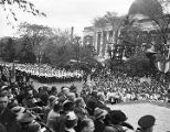 Crowd on the campus of Tuskegee Institute in during a visit by President Franklin D. Roosevelt.