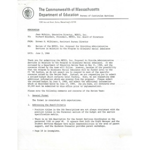 Memo, review of the METCO, Inc. proposal for providing administrative services in relation to the program to eliminate racial imbalance