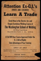Handbill. Attention Ex-G.I.'s (White and Colored) Learn a Trade