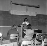 Speaker in classroom, Los Angeles, 1972