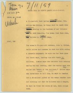 News Script: Negro held in wife's death