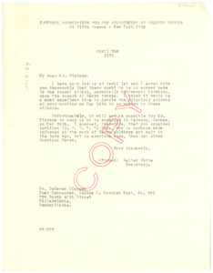 Letter from Walter White to DeHaven Hinkson