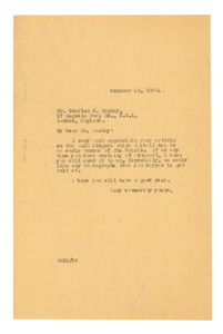 Letter from W. E. B. Du Bois to Charles H. Wesley