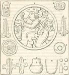 Engravings of human figure, ornaments vases etc