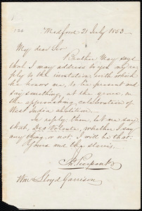 Letter from John Pierpont, Medford, [Mass.], to William Lloyd Garrison, 21 July 1853