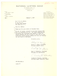 Letter from National Lawyers Guild to W. E. B. Du Bois