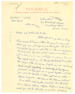 Letter from George Padmore to W. E. B. Du Bois
