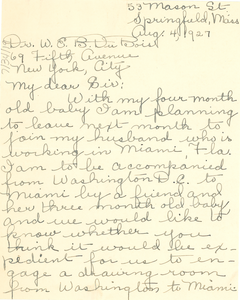 Letter from the Frances S. Tucker to W. E. B. Du Bois