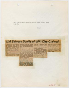 Intelligence Report: Dallas Times Herald Clipping, March 19, 1969 Link Between Deaths of JFK, King Claimed