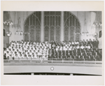 Group portrait of men's and women's church group at Abyssinian Baptist Church, Harlem, New York, circa 1950s