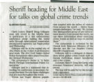 Newspaper clipping, Sheriff heading for Middle East for talks on global crime trends, Las Vegas Review-Journal, n.d.