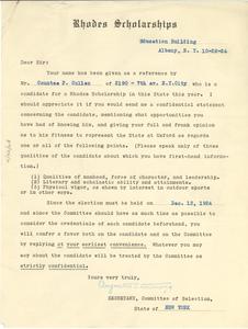 Letter from Rhodes Scholarship to W. E. B. Du Bois