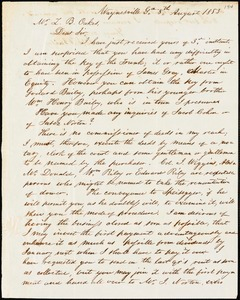 W. E. Bailey, Waynesville, Ga., autograph letter signed to Ziba B. Oakes, 8 August 1853
