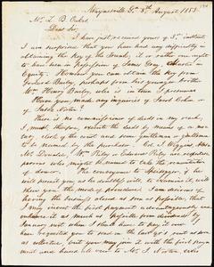 W. E. Bailey, Waynesville, Ga., autograph letter signed to Ziba B. Oakes, 8 August 1853