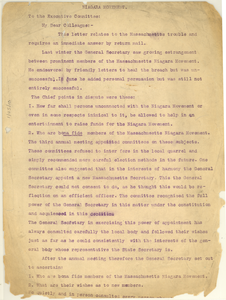 Circular Letter from unidentified correspondent to Executive Committee of the Niagara Movement [fragment]