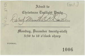 Admission ticket for Christmas twilight party
