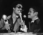 Stevie Wonder speaking with Sammy Davis Jr., Los Angeles, 1977