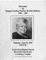 Margaret Pauline Fletcher Weeden Maloney, Funeral service bulletin, June 25, 1987