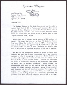 Letter from Mary H. Langford to Thelma Rice - 1992 San Antonio Chapter of Links Records Links Regional Papers