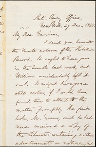 Letter from Oliver Johnson, Anti-Slavery Office, New York, [New York], to William Lloyd Garrison, Anti-Slavery Office, New York, [New York], 1862 Dec[ember] 27