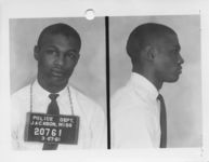 Mississippi State Sovereignty Commission photograph of James Cleo Bradford following his arrest for his participation in a sit-in at a library in Jackson, Mississippi, 1961 March 27