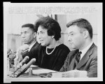 [Mrs. Constance Motley at a news conference with Medgar Evers and Jack Greenberg]