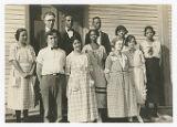 Faculty, 1922-1923 (Front Row: Raymond Jenkins, Cecilia Jenkins, Mary Moore, Mabel Martin, Nelle Vore. Back Row: Irene Utter, Leigh Barrett, Joseph Charles Penn, Fred Tharp, Florence Jamison, Ann Colby)