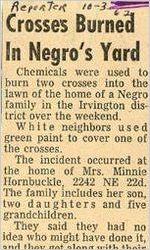 Crosses Burned in Negro's Yard, October 3, 1962