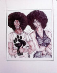 Drawing: man and woman with black power fist on shirt