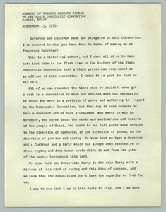 Remarks of Senator Barbara Jordan To The State Democratic Convention, Dallas, Texas - September 15, 1970 Texas Senate Papers
