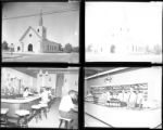 Set of negatives by Clinton Wright including a church, Golden Western shopping center, portraits, and Merit Drug baseball team, 1964
