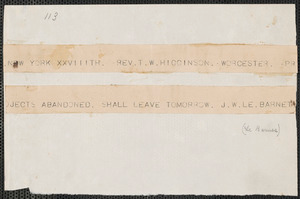 John W. LeBarnes telegram to Thomas Wentworth Higginson, New York, 28 November [1859]