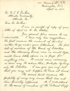 Letter from Benjamin Brawley to W. E. B. Du Bois