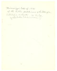 Mississippi code of 1930