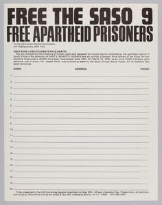 Petition to free the SASO 9 as presented to the UN Committe Against Apartheid