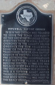 Texas Historical Commission Marker: Hopewell Baptist Church