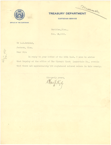 Letter from Meridian Mississippi Treasury Department to S. D. Redmond