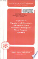 Registers of signatures of depositors in branches of the Freedman's Savings and Trust Company, 1865-1874