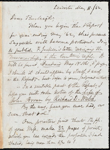 Letter from Samuel May, Leicester, [Mass.], to Charles Calistus Burleigh, May 11 / 62