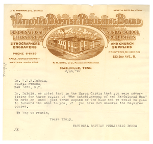 Letter from National Baptist Publishing Board to W. E. B. Du Bois