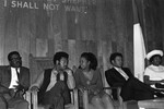 Gladys Knight and Jesse Jackson sitting together in conversation at Victory Baptist Church, Los Angeles, 1970