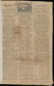 The Boston-Gazette, and Country Journal, 23 November 1767