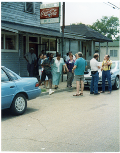 Attendees at Mississippi Homecoming Reunion outside Becker's Place cafe