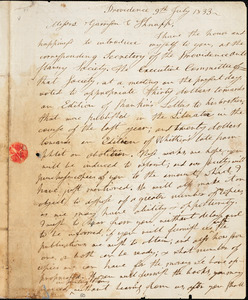 Thumbnail for Letter from Thomas Williams and Henry Egbert Benson, Providence, [Rhode Island], to William Lloyd Garrison and Isaac Knapp, 1833 July 9th